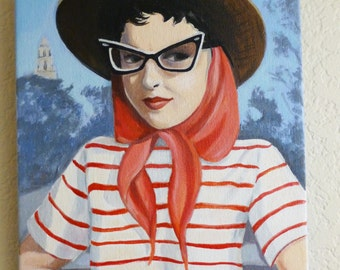 Kitty, vintage woman with cat eye glasses, hat and scarf.