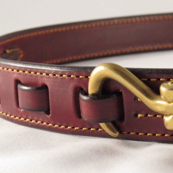 chestnut leather equestrian belt with brass hoof by