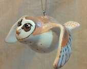 Barn Owl bird holiday Christmas bird ornament - tree window animal ornament - handpainted, handsculpted