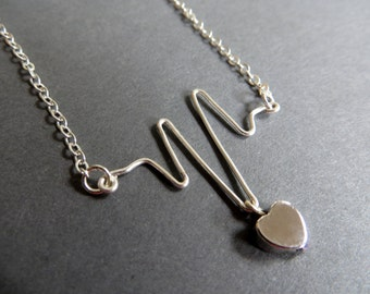 Heartbeat Necklace. Sterling Silver Necklace. EKG Necklace. Nurse, Doctor, Lover Necklace. Gift for Her.