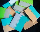 Hand made cards: Set of 8 handmade Mini note cards, Lace, Elegant, simple, turquoise, beige, white, grey, neon green, tent style, Wcards