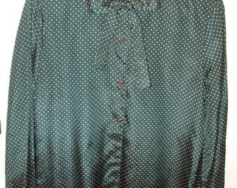 Loubella polka dot 1980s dark green secretary bow tie blouse size 6