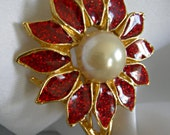 Faux Pearl and Red Enamel Floral Motif Gold Tone Brooch | Unsigned | Vintage