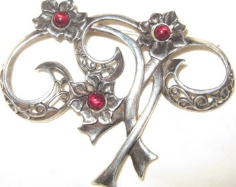 Delicate Garnet Brooch, Antique Sterling Brooch Exquisite Vintage Sterling Silver Retro Modern Swirly Floral Brooch w Garnet Colored Stones
