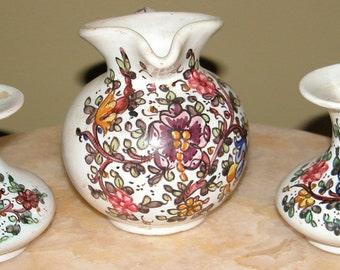 Italian Gubbio Vases Art Pottery Vase Set Quaint ITALIAN 3 Pc GUBBIO Jug Pitcher Bud Vase Set Italy Italian Art Pottery Ceramics
