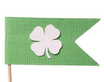 Shamrock Cupcake Toppers - Saint Patrick's Day Cupcake Toppers - Flag Cupcake Toppers - Irish Cupcake Toppers - Saint Patrick's Day Party