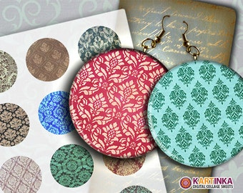 COLORFUL DAMASK 2 inch Digital Collage Sheet Printable Decoupage Circles for Pendant Pocket Mirrors, Earrings, Paper Weight