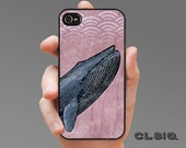 iPhone Case - Blue Whale on Pink Wood Textured Case for iPhone 6, iPhone 6 Plus, iPhone 5/5s/5c or iPhone 4/4s, Samsung Galaxy S5, S4, S3