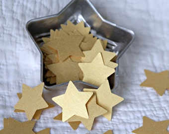 100 Shimmery Gold  Metallic Recycled Paper Stars for Wedding, Holiday Table Decoration, Altered Art, Scrapbooking, Gifts