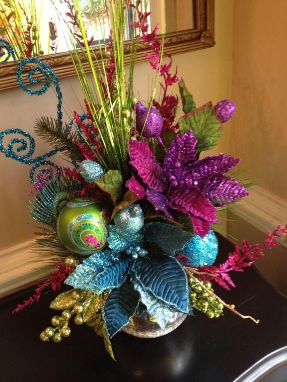 Peacock colors christmas table arrangement centerpiece