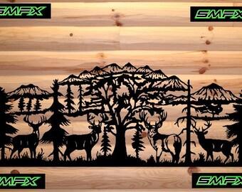 Large deer Scene Metal wall art