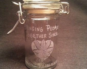 Come Together Hand Engraved/Etched Glass Stash Jar