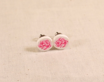Pink Rose Post Earrings Polymer Clay