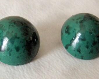 Vintage  Green & Black  Clip on Earrings