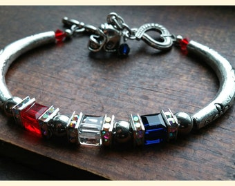The New England Patriots inspired  Crystal Bracelet