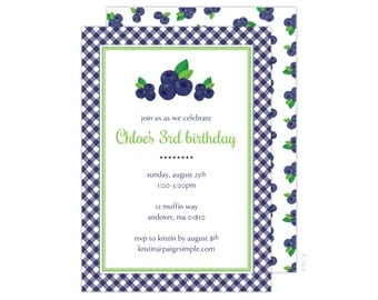 Blueberry Party Invitation or Shower Invitation (Blueberry Party, Blueberry Baby Shower, Blueberry Invitation)
