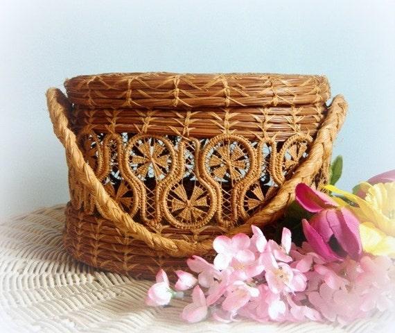 Antique Woven Pine Needle Basket