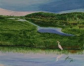 Coastal Marsh with Egret  - Original Framed Painting - Last 2 weeks at this SALE price