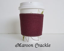 Maroon Crackle Print Quilted Cotton Cup Cozy(Fits Most Standard Take-out Cups)