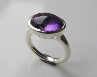 Oval Solitaire Amethyst Ring- Purple Gemstone Ring- Purple Amethyst Ring- February Birthstone Ring- Purple Gemstone Ring- Rose Gold Ring
