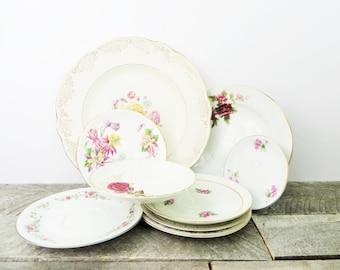 Mismatched Dishes - 9 Plates - Haute Hippie Decor - Vintage China - Pink Flowers