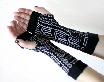 Black and White Tribal  Fingerless Gloves with black  edges -Super Soft  Arm Warmers , Gloves , Hand Warmers , Cuffs , abstract pattern