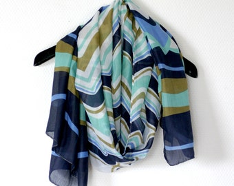 Long  Blue and White Chevron Scarf / Olive  Infinity Zig Zag 2Loop Cowl Circle Scarf, Shawl, loop scarf, Chevron, Scarves, Gift Idea, soft