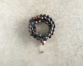 Indian Lotus Seed Mala with Rudraksha & Carnelian