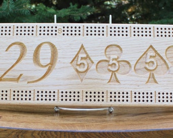 29 Hand Cribbage Board Made From Solid Oak