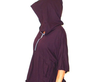 CLEARANCE SALE Zip Front Caplet Style Jacket Poncho with Hood in Burgundy