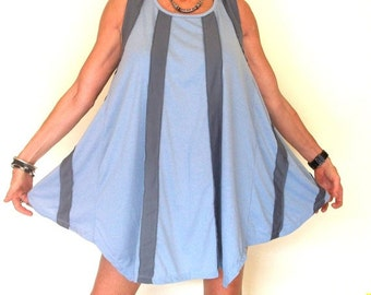 25% OFF CLEARANCE SALE Striped Babydoll Style Tunic Top or Dress in Blue Grey