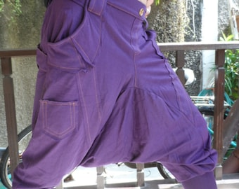 CLEARANCE SALE  Harem Pants in Purple with orange stitching detail
