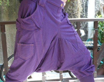 25% OFF CLEARANCE SALE  Harem Pants in Purple with orange stitching detail