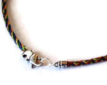 Elephant necklace - kumihimo braid - for him or her
