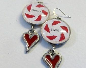 Geek Hipster Boho Glass Peppermint Swirl Sweet Heart Earrings