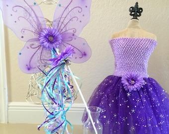 Purple Fairy Dress, Purple Fairy Costume, Purple Tutu, Purple Fairy Wings, Little Mermaid Dress, Princess Costume, Princess Tutu