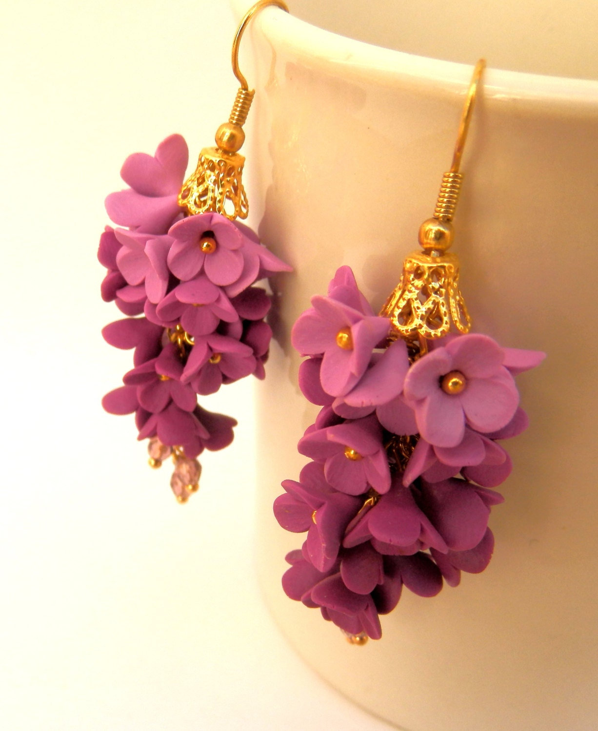 violet flower earrings dangle earrings ombre by insoujewelry. Black Bedroom Furniture Sets. Home Design Ideas