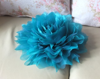 Jumbo Organza Flower Brooch, Teal Fabric Flower, Sash Flower, Shoulder Flower, Headpiece, Dress accessories