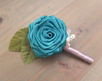 Single Teal Ribbon Rose Boutonniere, Teal Inspired boutonniere with perls and Crystal Beads