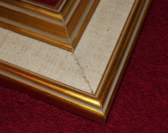 16 x 20 Ready to Ship Picture Frame ~ Vintage Moulding ~  Gold / Beige Linen / Gray lines ~ 2 1/2 inch Wide x 1 inch tall x 5/8 inch rabbit