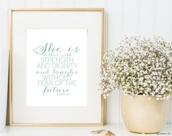 She Is Clothed With Strength And Dignity - Proverbs Poster Print Wall Art Decor