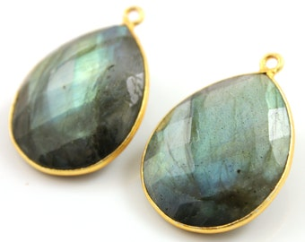 Amazing Blue Flash Labradorite Gold Bezel, Faceted Pear Gemstone Drop Pendant, 26x21mm, Sold As Pair, (BZC9048/LAB)