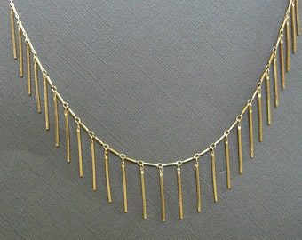 Gold Plated Tube Bar Chain necklace, gold chain necklace,