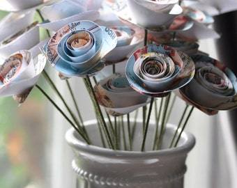 Map Paper Flowers on stems Set of 24 Map bouquet flowers travel theme party decor