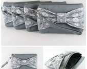 SUPER SALE - Set of 5 Gray Lace Bow Clutches - Bridal Clutches, Bridesmaid Clutches, Bridesmaid Wristlet, Wedding Gift - Made To Order