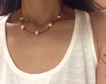 Knotted Pearl Necklace, Grecian Leather Pearl Necklace, Pearl and Leather Necklace