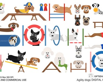 Agility dogs Digital clip art for Personal and Commercial use - INSTANT DOWNLOAD