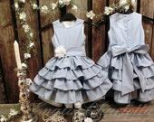 Light blue flower girl dress. Organic cotton flower girl dress. Ruffle flower girl dress. Light blue toddler dress. Girls special occasion