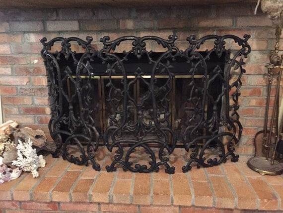 Cast Iron Fireplace Screen Folding Black Fireplace Screen Home