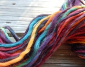 Hand spun yarn - hand painted wensleydale wool - thick and thin - 3.8 oz. - 53 yards